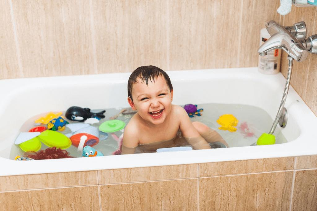 kid having a bath