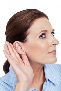 woman holding hand at ear