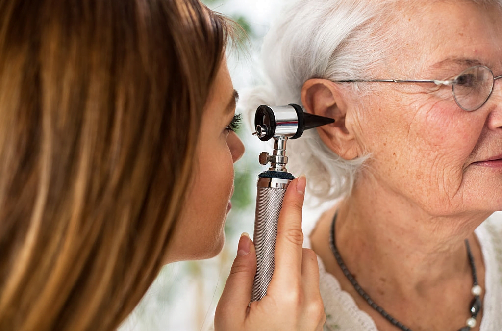 hearing test to a older women