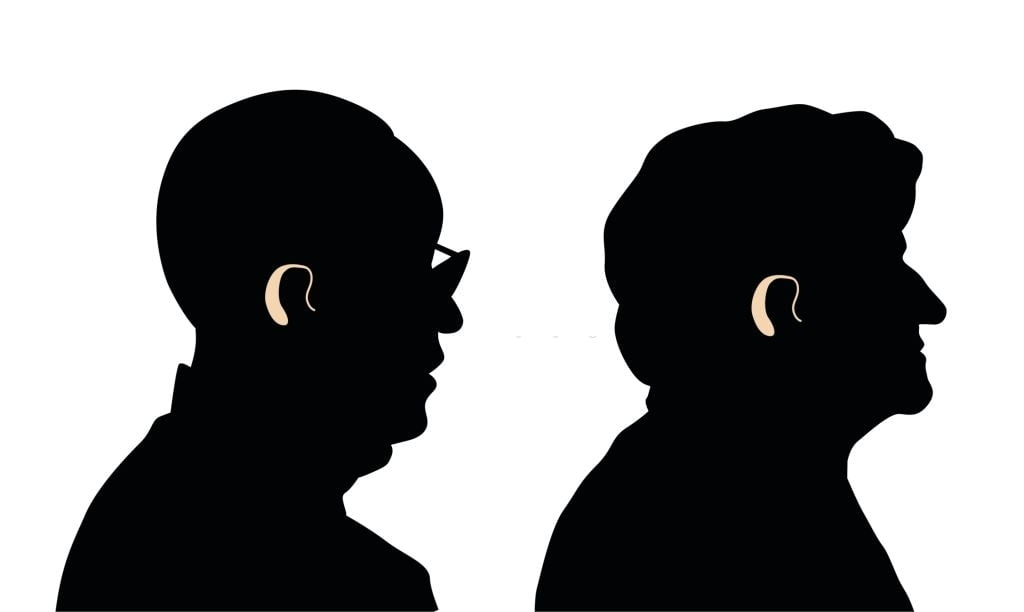 Silhouette drawing of a man and a woman wearing hearing aids